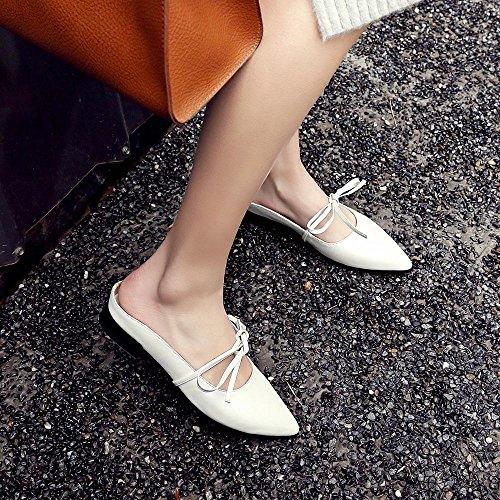 Sandalias de Cuero Mujer Mariposa Nudo Gruesas Zapatos de Tacón Bajo,GJDE B
