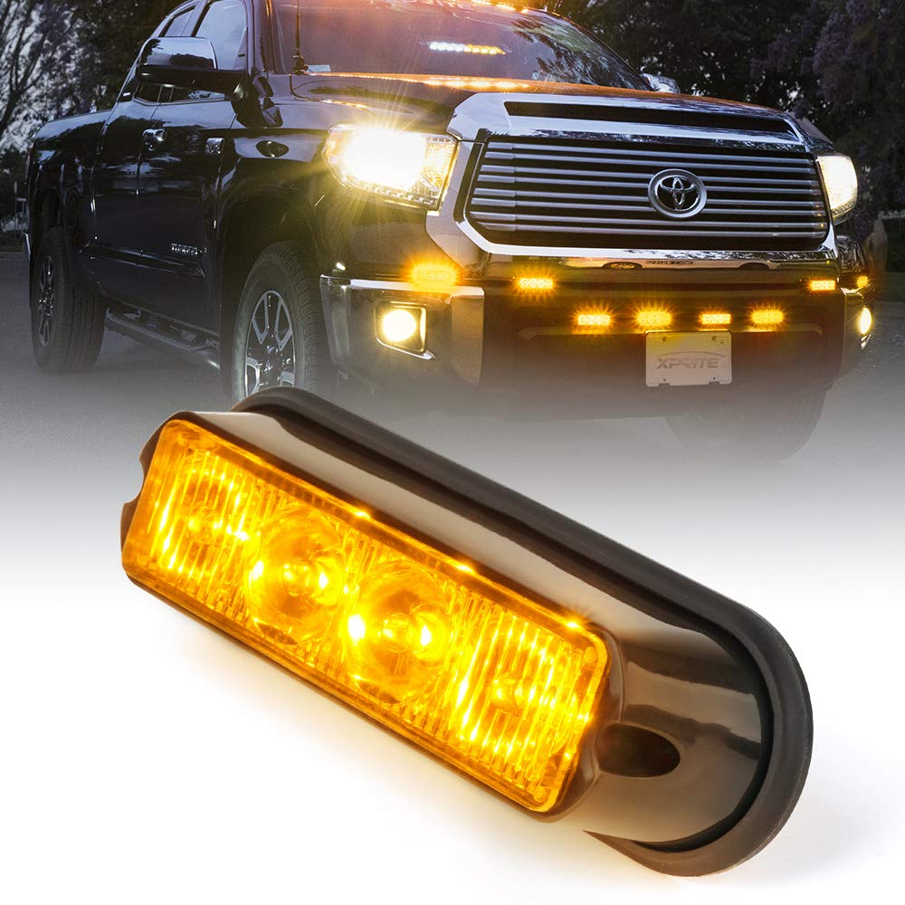 Xprite Amber Yellow 4 LED 4 Watt Emergency Vehicle Waterproof Surface Mount Deck Dash Grille Strobe Light Warning Police Light Head with Clear Lens 2 Pack 52025-Y-2PC