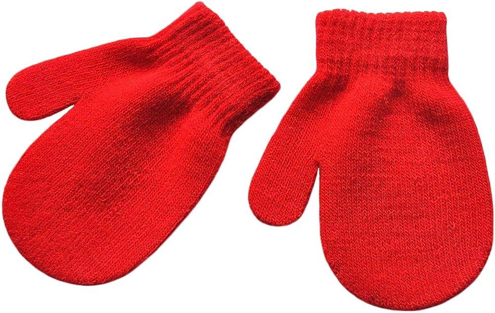 BaiX Unisex Kids Solid Winter Knitted Mittens Toddler Fingerless Gloves