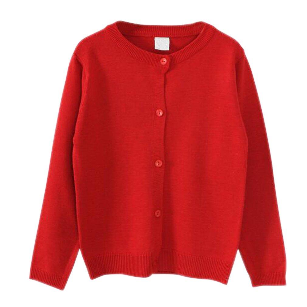 lymanchi Big Girls Long Sleeve Cardigans Knit Solid School Uniform Cute Sweaters Red 4-5T