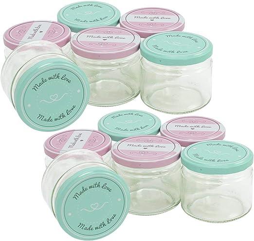 com-four® 12x Tarros de Cristal para Conservas con Tapa de Rosca ...