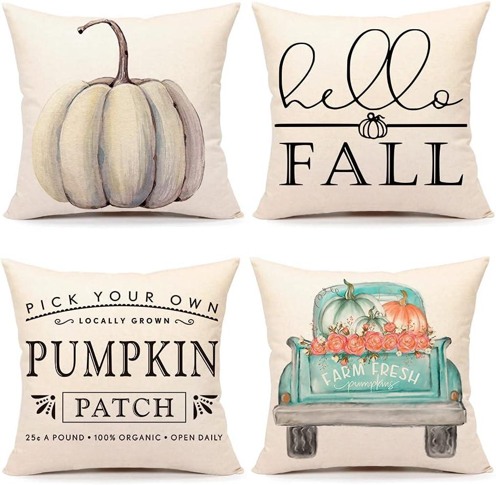4TH Emotion Fall Decor Pillow Covers 18x18 Set of 4 White Pumpkin Farmhouse Decorations Throw Cushion Case for Fall Thanksgiving Home Decorative Pillows TH011