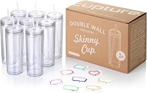 Cupture Skinny Acrylic Tumbler Cups with Straws - 18 oz, 8 Pack (Clear)