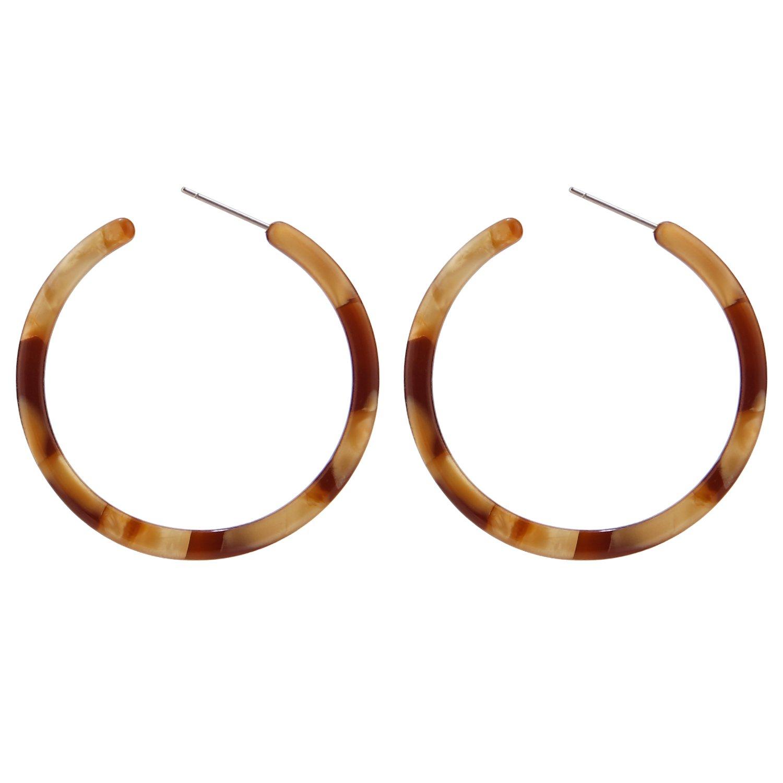 0f3f55424951f BaubleStar Tortoise Shell Resin Hoop Earrings Fashion Jewelry