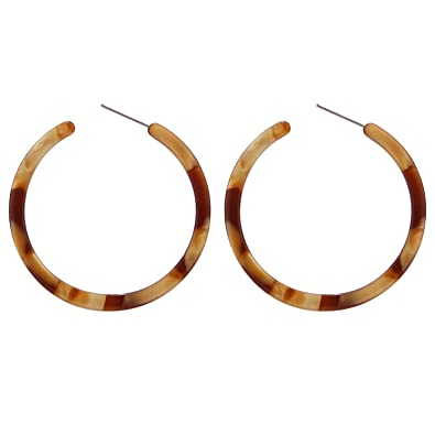 9b4b8ff69f7 BaubleStar Tortoise Shell Resin Hoop Earrings Acrylic Round Circle Dangle  Amber Ear Drops Fashion Jewelry for