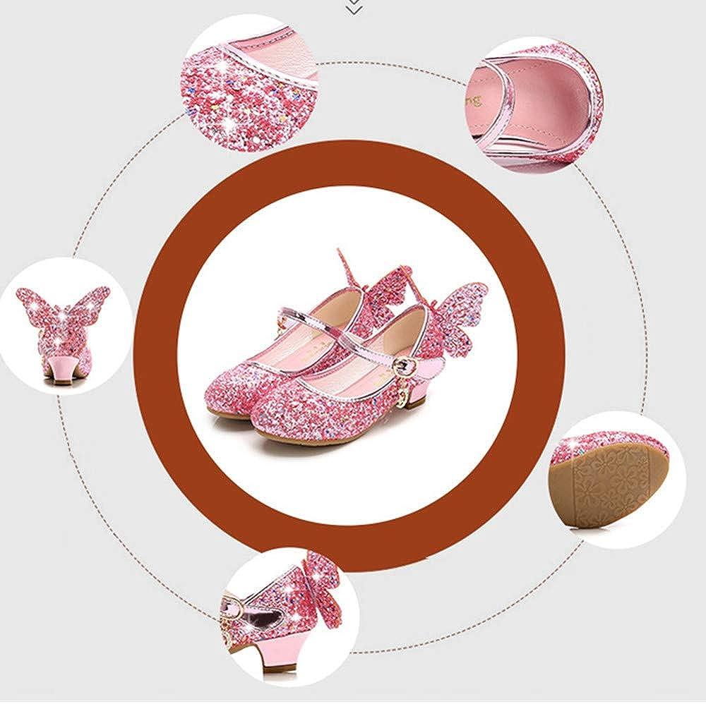 BININBOX M/ädchen Prinzessin Schuhe Sandalen Glitzer Prinzessin Gelee Partei Absatz-Schuhe F/ür Kinder Fr/ühling Sommer Pailletten Absatz-Schuhe mit Schleife