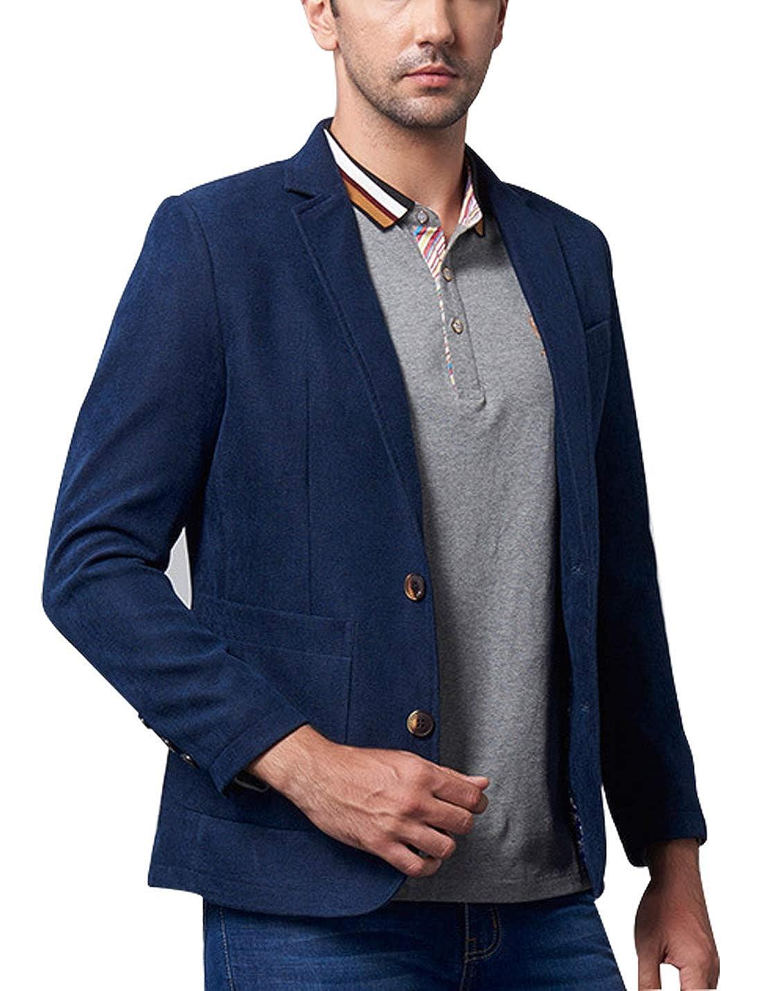 Omoone Mens Casual Lapel 2 Button Suits Slim Blazer Jacket Sports Coat