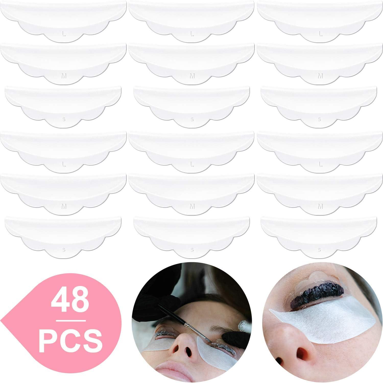 Rizador de Permanente de Pestañas de Silicona de 48 Piezas (S, M, L), Almohadilla de Silicona Permanente para pestañas, Herramienta de Belleza de Maquillaje de Varillas Lash Lift