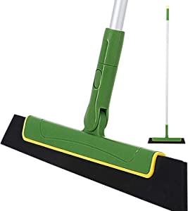 Yocada Floor Squeegee 51in Broom Perfect for Shower Bathroom Kitchen Home Tile Pet Hair Fur Floor Marble Glass Window Water Foam Cleaning Long Adjustable Removable Handle Anti-Static Household Green