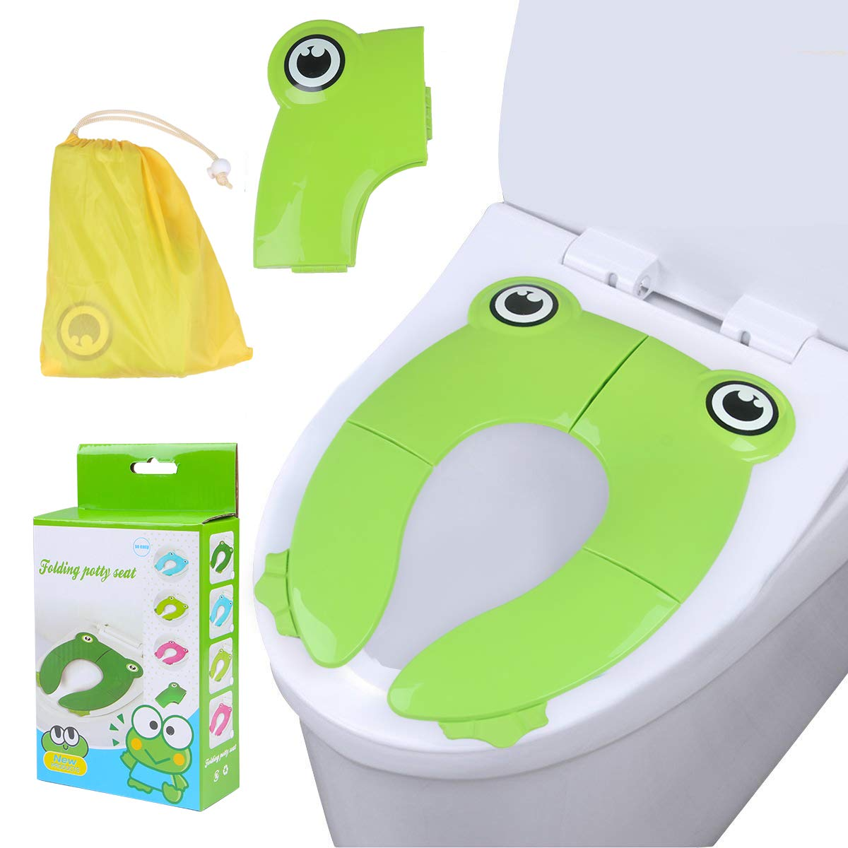 Travel Folding Portable Potty Training Toilet Seat Cover Liner Upgrade Non Slip Silicone Pads with Carry Bag for Babies, Toddlers and Kids (Owl) Youth Union