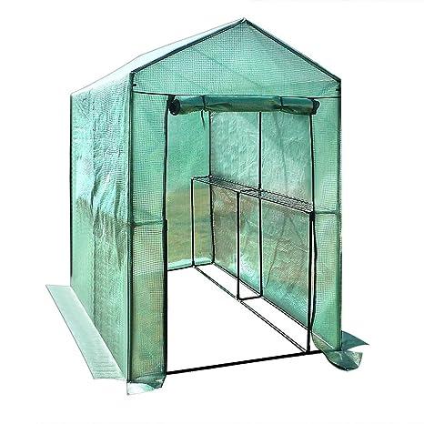 Invernadero de polietileno resistente a roturas y a las heladas, con estructura de metal. Caseta