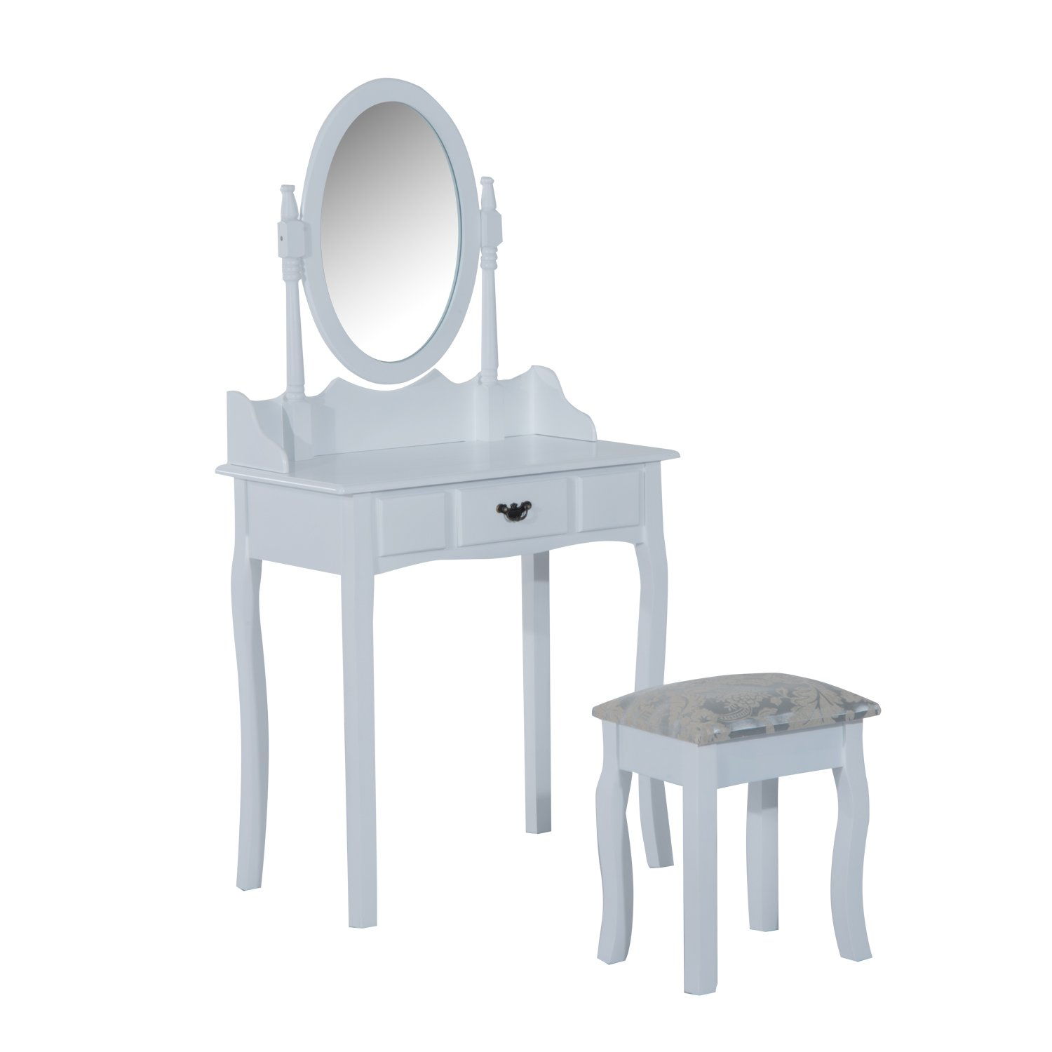 HOMCOM Vanity Table Set Oval Mirror Makeup Dressing Table with Cushioned Stool Bedroom Furniture White Aosom Canada