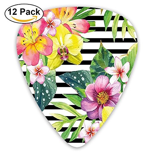Newfood Ss Bouquet With Lily Dahlia Palm Begonia Leaves Orchid Flowers On A Striped Background Guitar Picks 12/Pack Set
