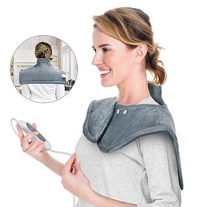 Almohadilla Eléctrica Espalda, 100W 50×56cm manta electrica lumbar cervical y espalda, Lavable, Calentamiento Rápido, 3 Temperaturas, Aliviar dolores ...