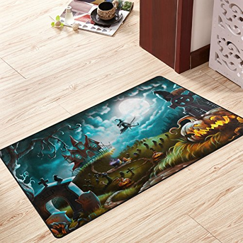 My Little Nest Halloween Night Mystery Cemetery Witch Area Rug For Bedroom Dining Living Room Entry Way 20