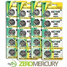 2032 Battery CR2032 3V Lithium Coin Cell Battery Type : CR2032 / DL2032 / ECR2032 Genuine KEYKO ® Supreme High EnergyTM - 20 pcs Pack