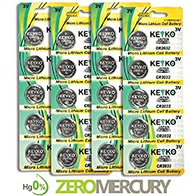 CR2032 3 Volt Lithium Battery Type 2032 / DL2032 / ECR2032 Genuine KEYKO ® Replacement KT-CR2032 - 20 pcs Pack (4 Blisters)