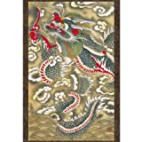 This unique hanging scroll exhibits a perfect reproduction of Joseon dynasty (1392-1910) folk painting called Minhwa. This particular work depicts an imaginary scene of a dragon in the depths of the clouds rising from the sea's surface. The f...