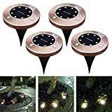 Ocamo Disk Lights, Solar Ground Light Antique Brass 8 LED Waterproof Buried Light Under Ground Lamp Outdoor Path Way Garden Decoration Warm White 4PCS
