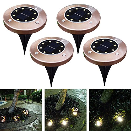 - Ocamo Disk Lights, Solar Ground Light Antique Brass 8 LED Waterproof Buried Light Under Ground Lamp Outdoor Path Way Garden Decoration Warm White 4PCS