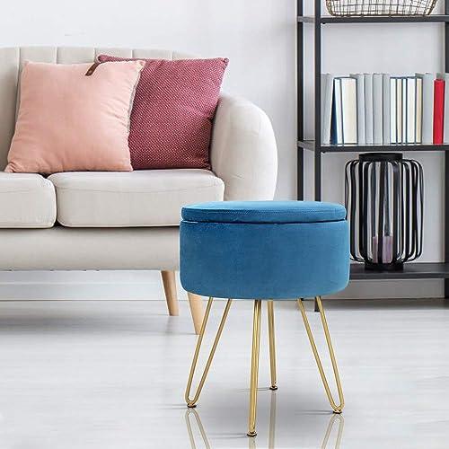 ECOTOUGE Velvet Footrest Storage Ottoman Round Modern Upholstered Vanity Footstool Side Table Seat Dressing Chair