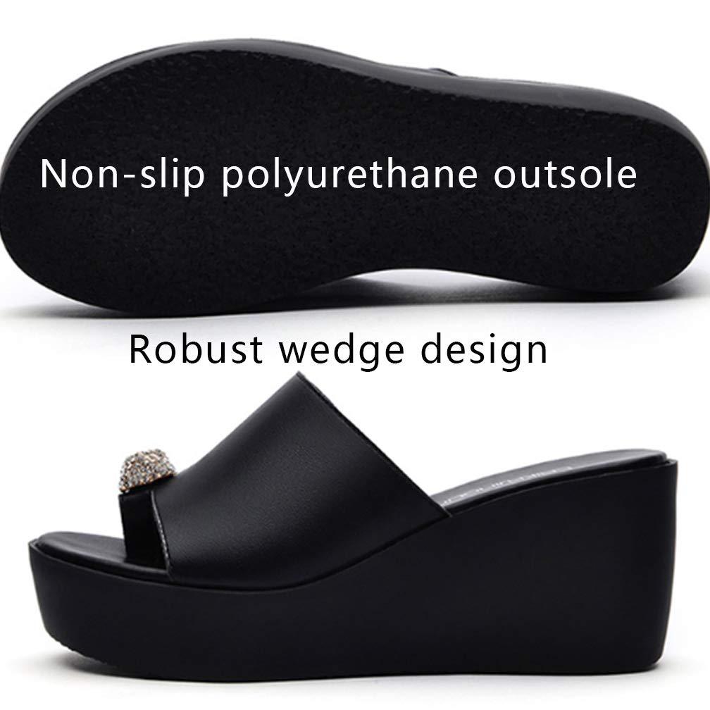 Selling High Heel Heel Heel Plateau Pantoletten für Damen, Flash Sommer Sandaletten und Slipper, High Heel Hausschuhe, Bequeme Home Toe Wedge Damen Bad Damenschuhe,schwarz,38 3c9e63