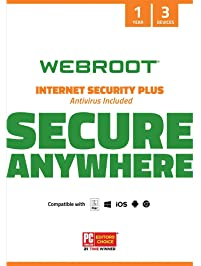 Webroot Internet Security Plus with Antivirus Protection – 2019 Software  | 3 Device | 1 Year Subscription | PC/Mac CD...