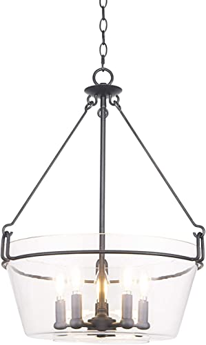 Bazz PR3811CB Glam Pendant Light, Dimmable, Adjustable, Easy Installation, 59-in, Clear Glass