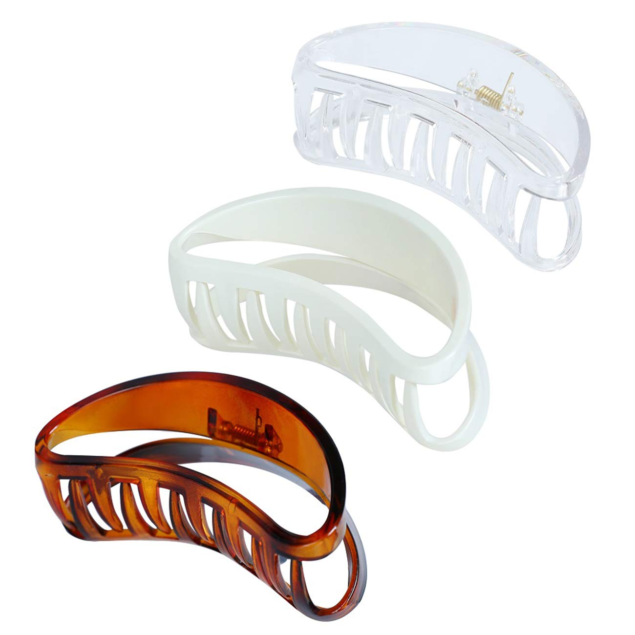 Tocess Big Hair Claw Clips, 3.8 Inch Plastic Hair Claw Clips and Hair Jaw Clips for Women and Girls (Shape D Claw Clips)