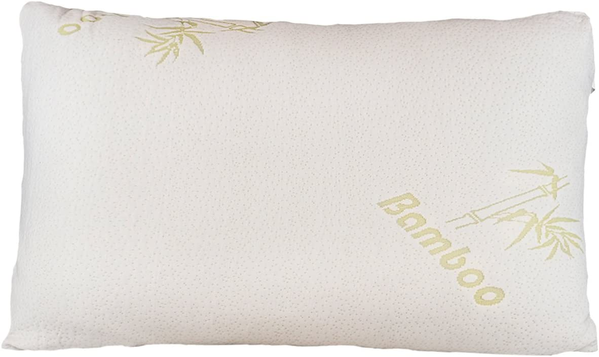 Relax Home Life - Bamboo Pillow With Shredded Memory Foam and Stay Cool Removable Cover (Queen)