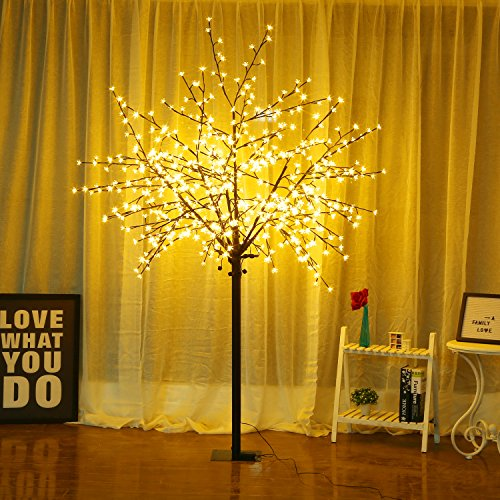 Bolylight Cherry Blossom Tree 8ft 600L LED Great Decoration for Festival/Party/Christmas Warm White (Cherry Tree White)