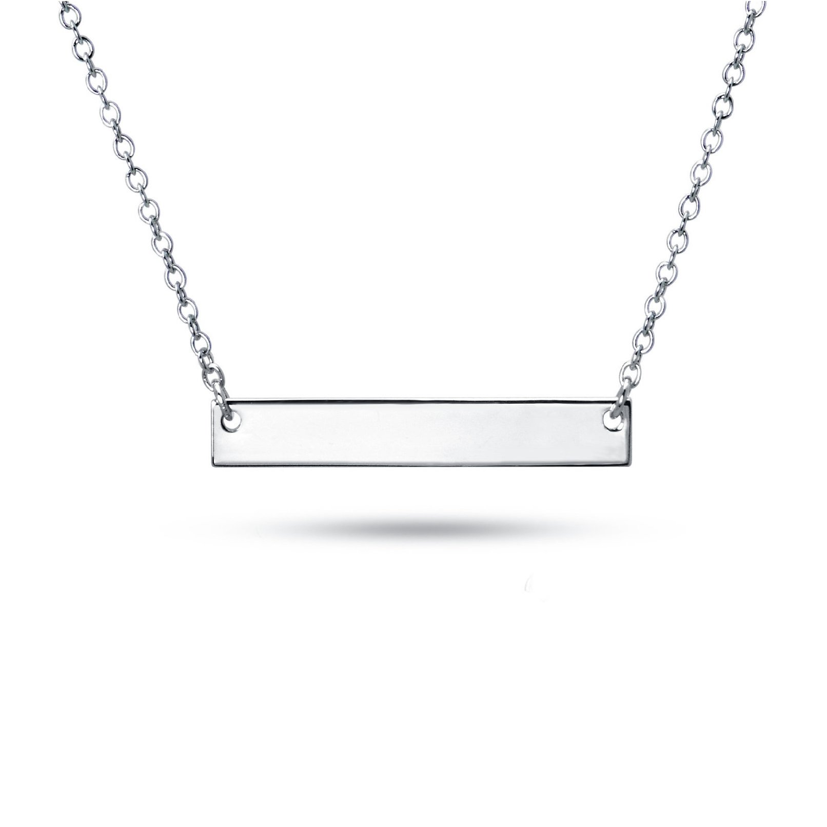 Sterling Silver Pendant Necklace with Plain Straight Horizontal Bar Charm, Rhodium Plated 925 Silver, Adjustable Chain Length 16'' - 18'', with Jewelry Box