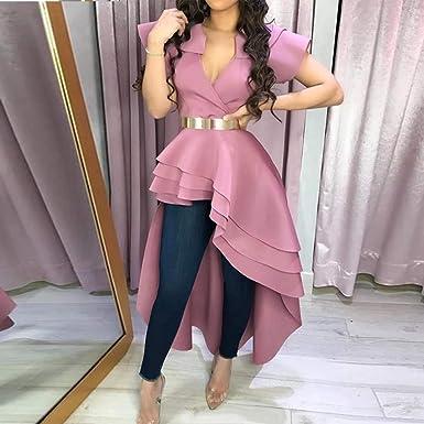 DAIDAINDX Blusa Larga para Mujer Camisa Rosa Camisa con ...