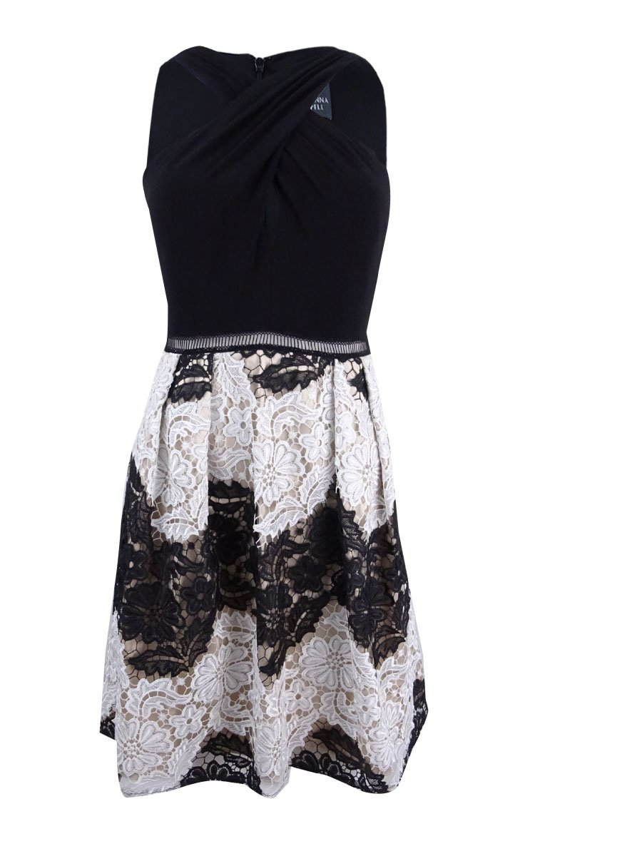 Adrianna Papell Womens Petites Floral Lace Above Knee Party Dress Black 8P