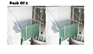 Set Of 2 Over Door Folding Airer Drying Rack Towel Rail Laundry Hanger  Clothes Dryer Ideal