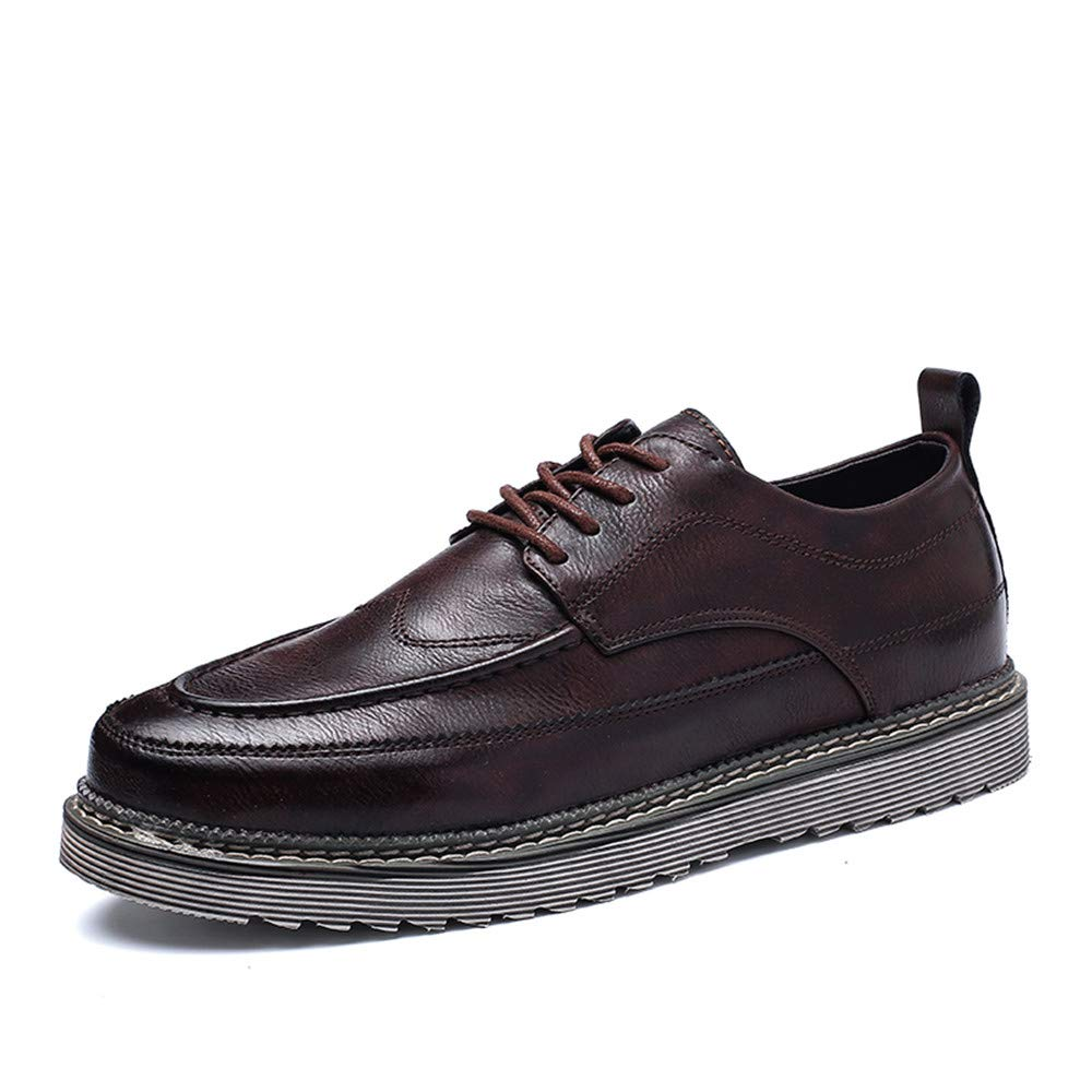 Brown JIALUN-shoes Men's Fashion Business Oxford Casual Comfort Lacing New Vintage Simple Outsole Formal shoes