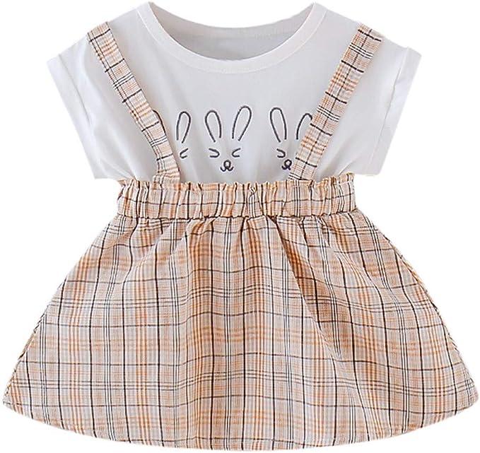 Shenye - Vestido de niña para niños y niñas, Camiseta con Estampado de Cuadros y Falda de Verano para bebés de 0 a 4 años: Amazon.es: Ropa y accesorios