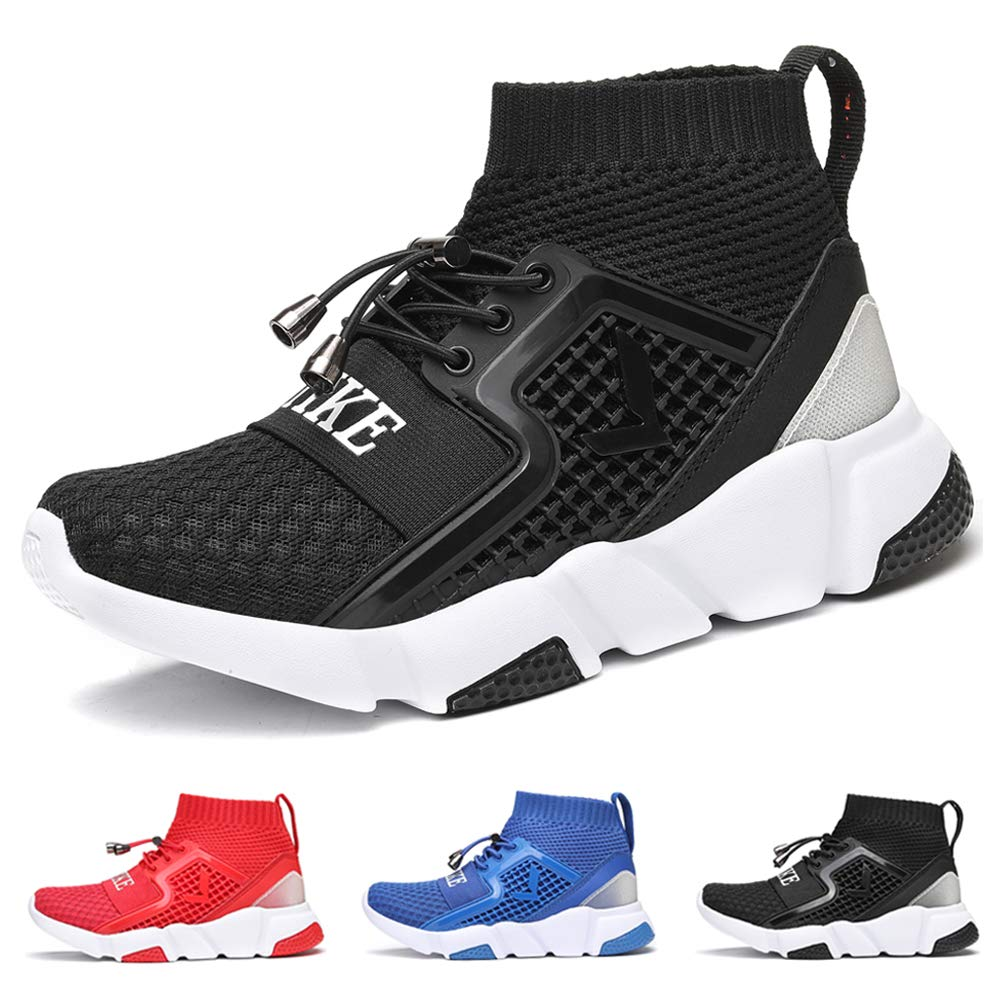 WETIKE Kids Shoes Boys Girls Sneakers Lightweight Sports Shoes Slip On Running Walking School Casual Trainer Shoes Soft Knit Mesh Shoes Tennis Wrestling Shoes Black Size 1