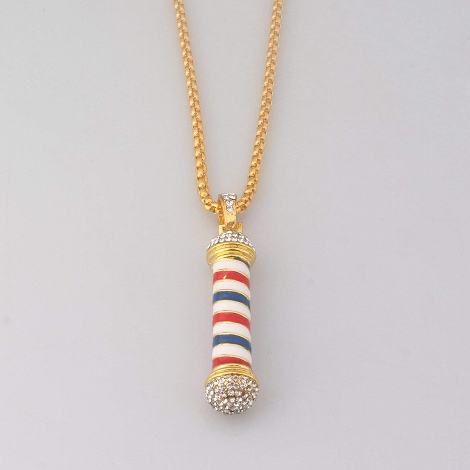 Monica/'s house Barber Shop Pole 3D Barber Pole Chain Pendant Necklace Hip Hop Barber Hairdresser Gothic Necklace Jewelry