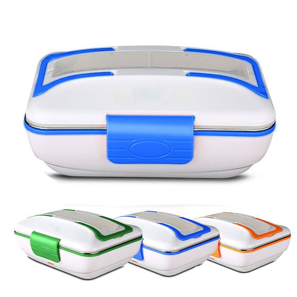 Electric Lunch Box Food Heater Portable Meal Warmer Removable Stainless Steel Containers Food-Grade Materials JU-HB01 (Blue) JUNEO