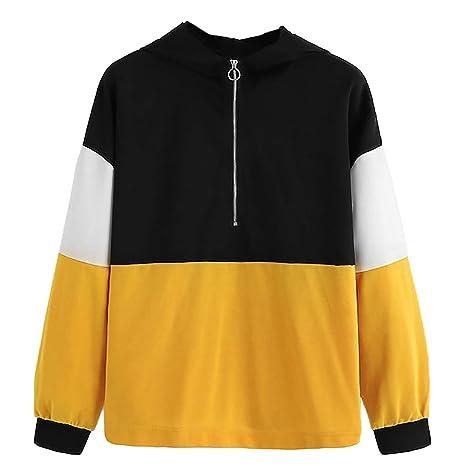 Women Sweatshirts Female Hoodie Zipper Hoodie Jumper Long Sleeve Color Block Sweatshirt Pullover Tops Hooded Sweatshirt at Amazon Womens Clothing store: