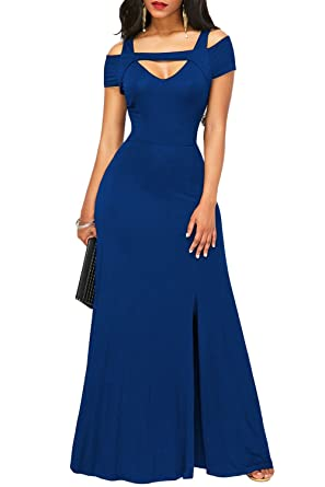 TOUVIE Damen Elegant Langes Abendkleid V-Ausschnitt Ballkleider ...
