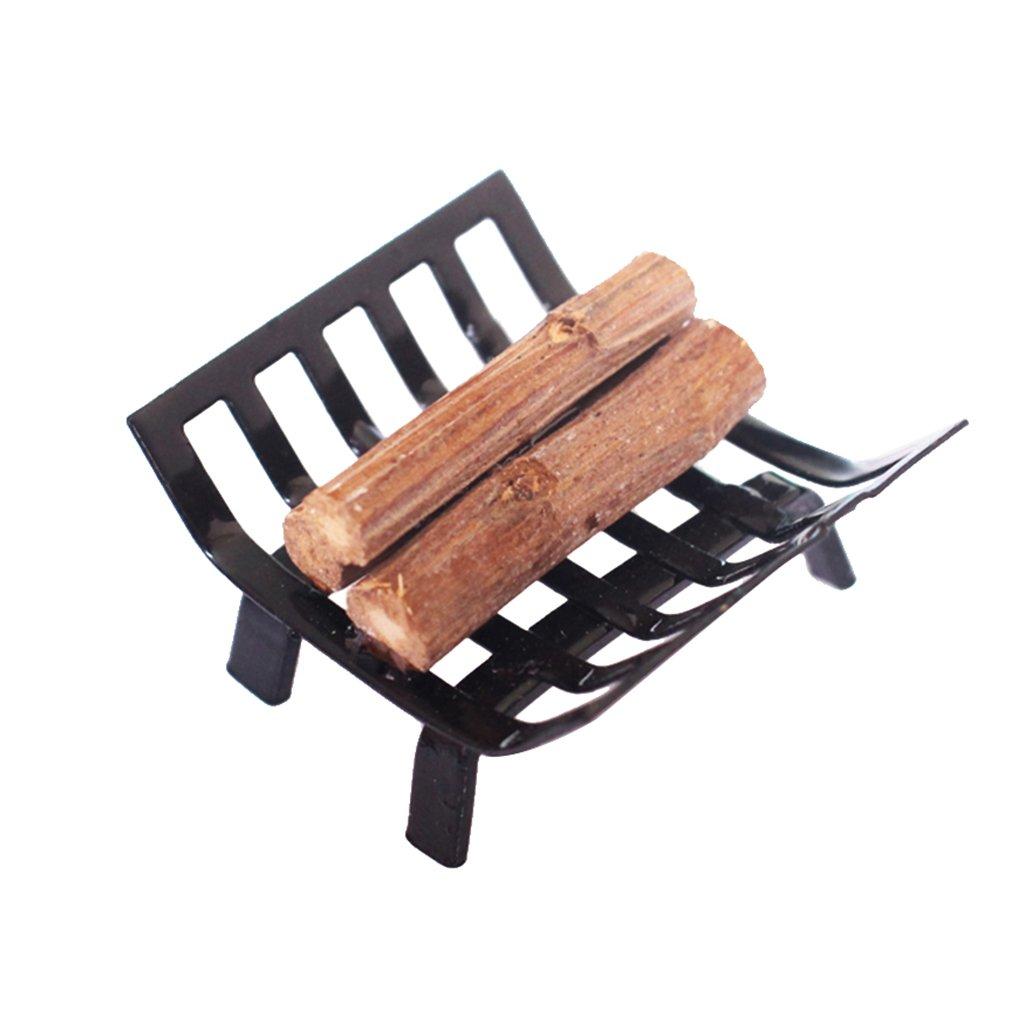 Baoblaze 1:12 Dolls House Furniture Black Metal Rack and Fireplace Firewood