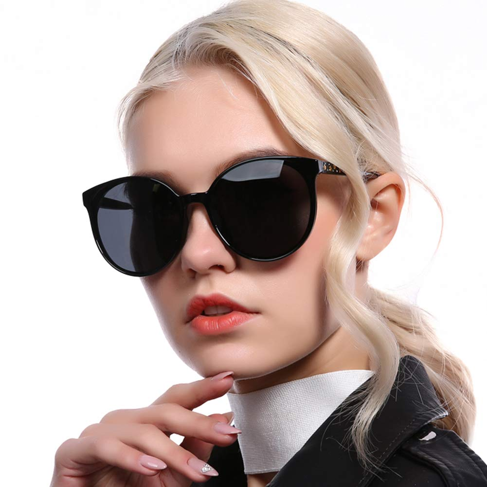 Black Oversized Polarized Sunglasses for Women Cat Eye Eyewear Fashion Big Frame UV400 Predection Vintage Round Sun glasses