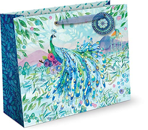 Punch Studio, Pagoda Peacock, Large Gift Bag, Horizontal, Gift Tag Included