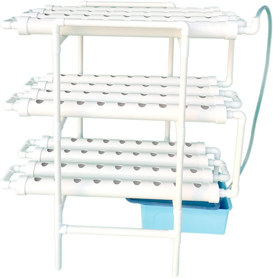 Nest Basket and Sponge for Leafy Vegetables LAPOND Hydroponic Grow Kit,3 Layers 108 Plant Sites PVC Pipe Hydroponics 12 Pipes Hydroponics Growing System with Water Pump Pump Timer
