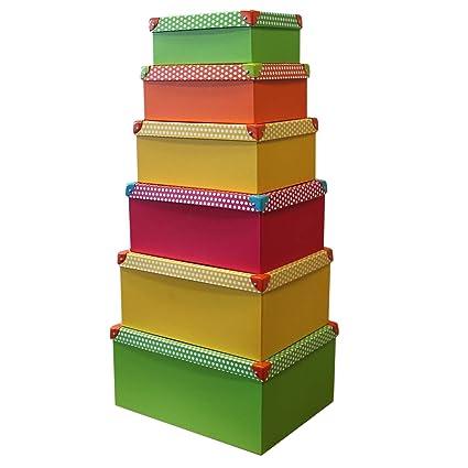 6 pieza Deko cartón con tapa Multicolor con Puntos apilables Caja decorativa caja caja de regalo