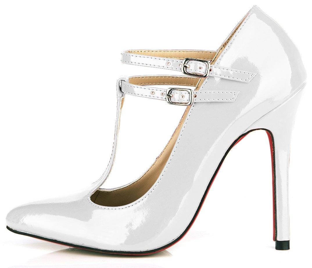 Pearl blanc Chaussures femmes le tempérament et le printemps nouveau rouge, noir cuir vernis des boîtes de chaussures les chaussures de talon haut US9.5-10   EU41   UK7.5-8   CN42