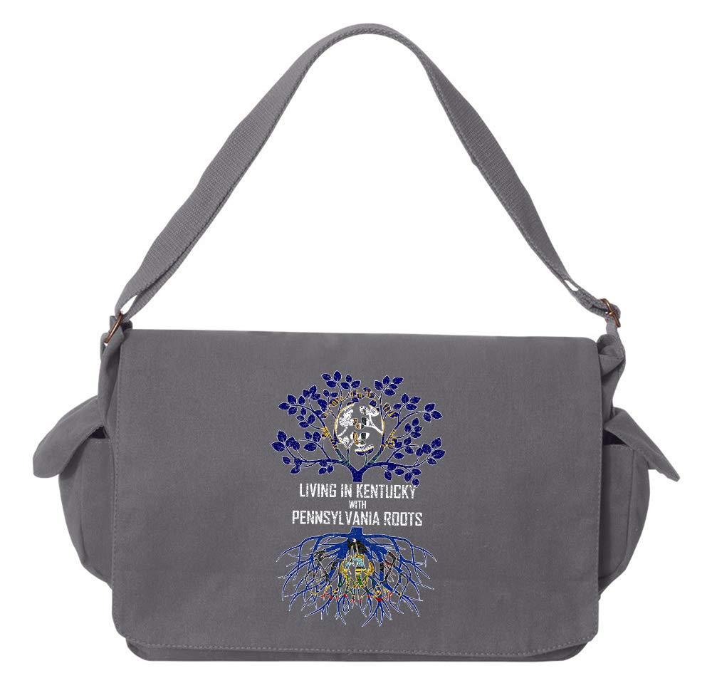 Tenacitee Living In Kentucky with Pennsylvania Roots Grey Brushed Canvas Messenger Bag