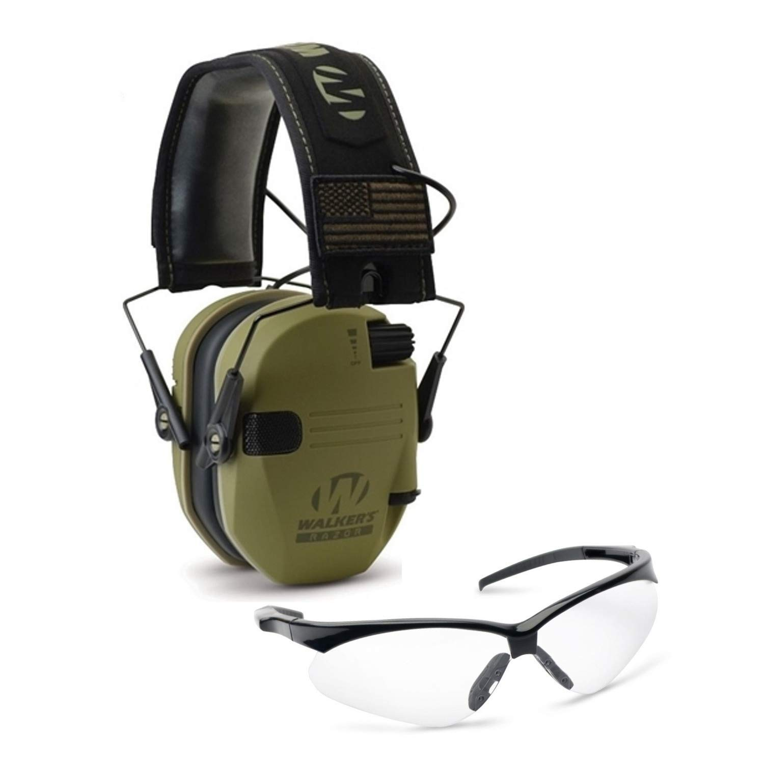Walkers Razor Slim Electronic Hearing Protection Muffs with Sound Amplification and Suppression and Shooting Glasses Kit, OD Olive Drab Green Patriot by Walkers (Image #1)